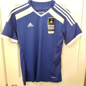 ADIDAS Youth Small Blue White Soccer Shirt NWT